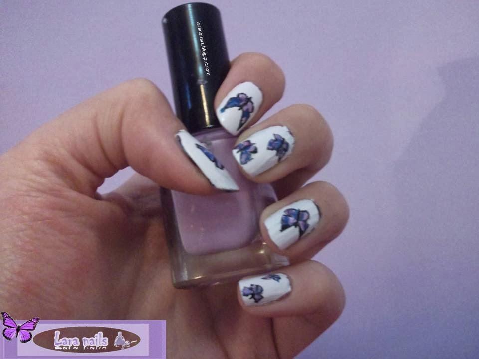 Lara Nails Nail Art De Mariposas Con Fondo Blanco Paso A Paso