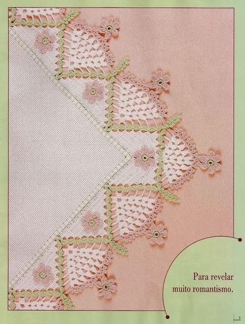 Decore Com Crochê [DIY] - Bico de Crochê Com Canto Modelo 1 - Com Gráfico