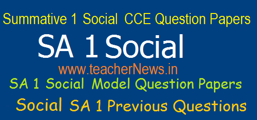 SA 1 Social Question Papers 6th, 7th, 8th, 9th, 10th Class Summative 1 Previous Question Papers