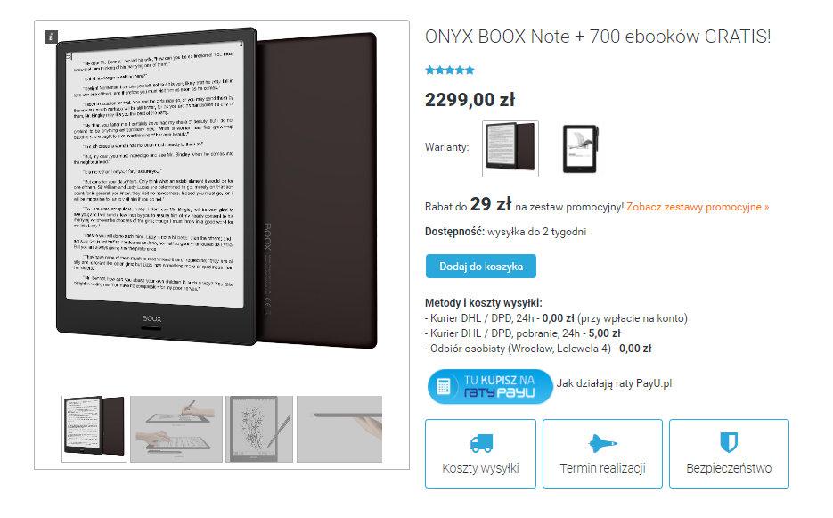 Onyx Boox Note na czytio.pl