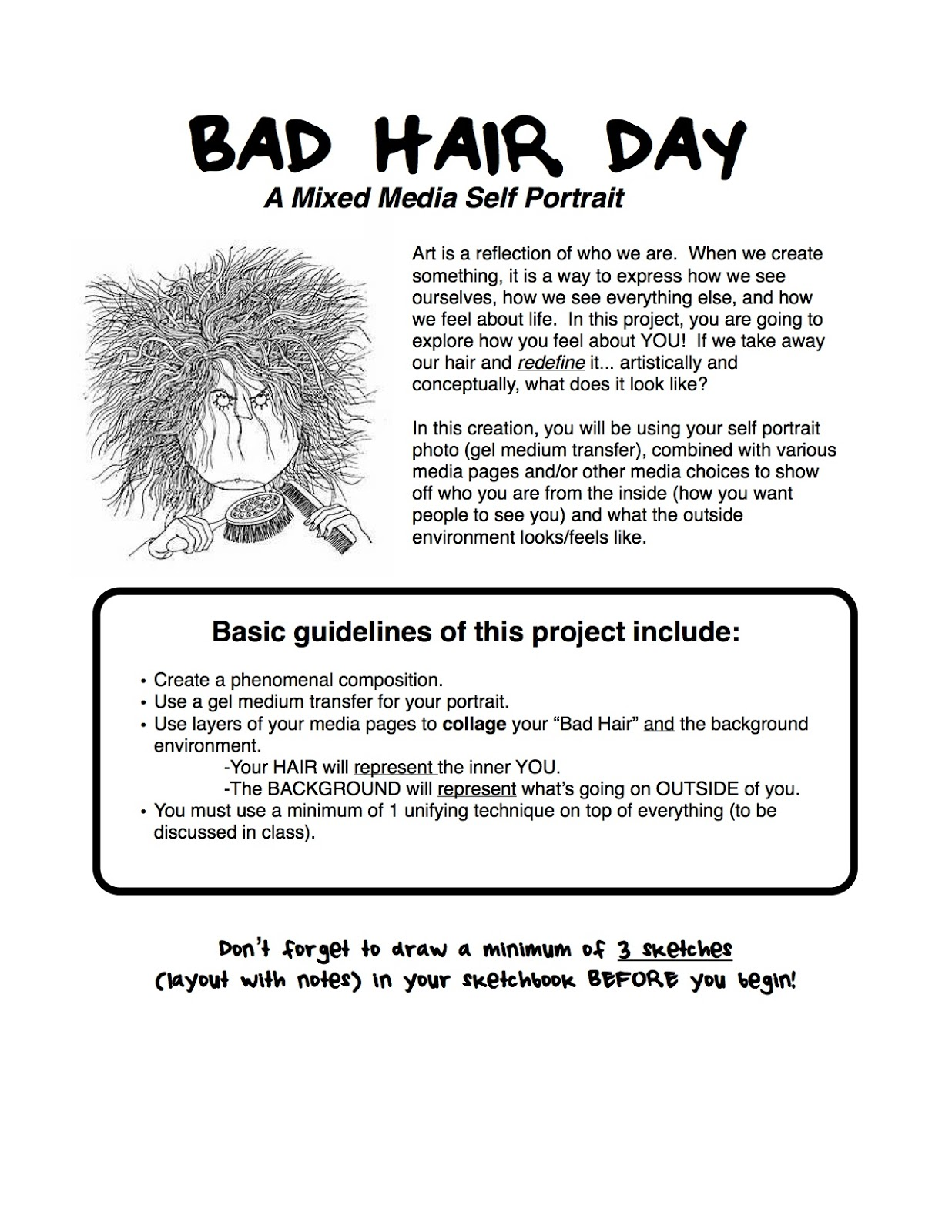 Project Art A Day Lesson Mixed Media Bad Hair Day