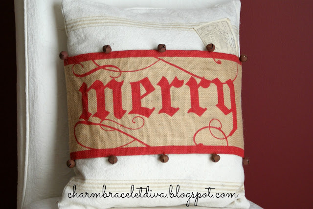 Merry burlap pillow wrap