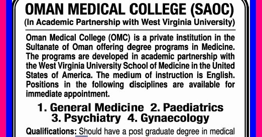 Jobs For Oman Medical College Gulf Jobs For Malayalees