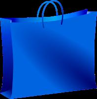 Sacola de compras azul como a tampa do Head and Shulders Humecta