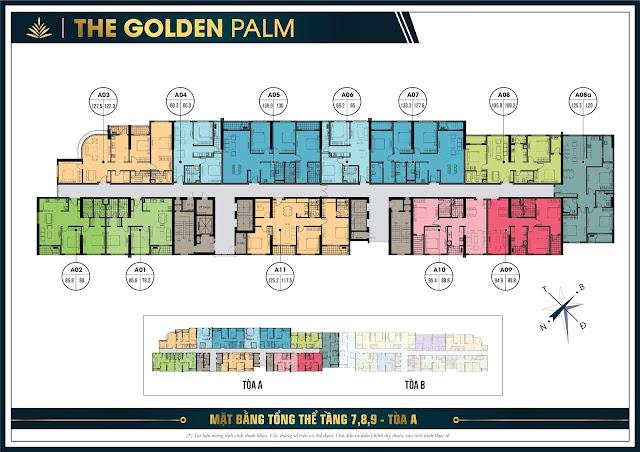Mặt bằng thiết kế tầng 7, 8, 9 tòa A - The Golden Palm