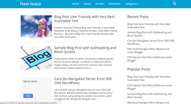 New Iwata Seo Friendly Responsive Blogger Templates