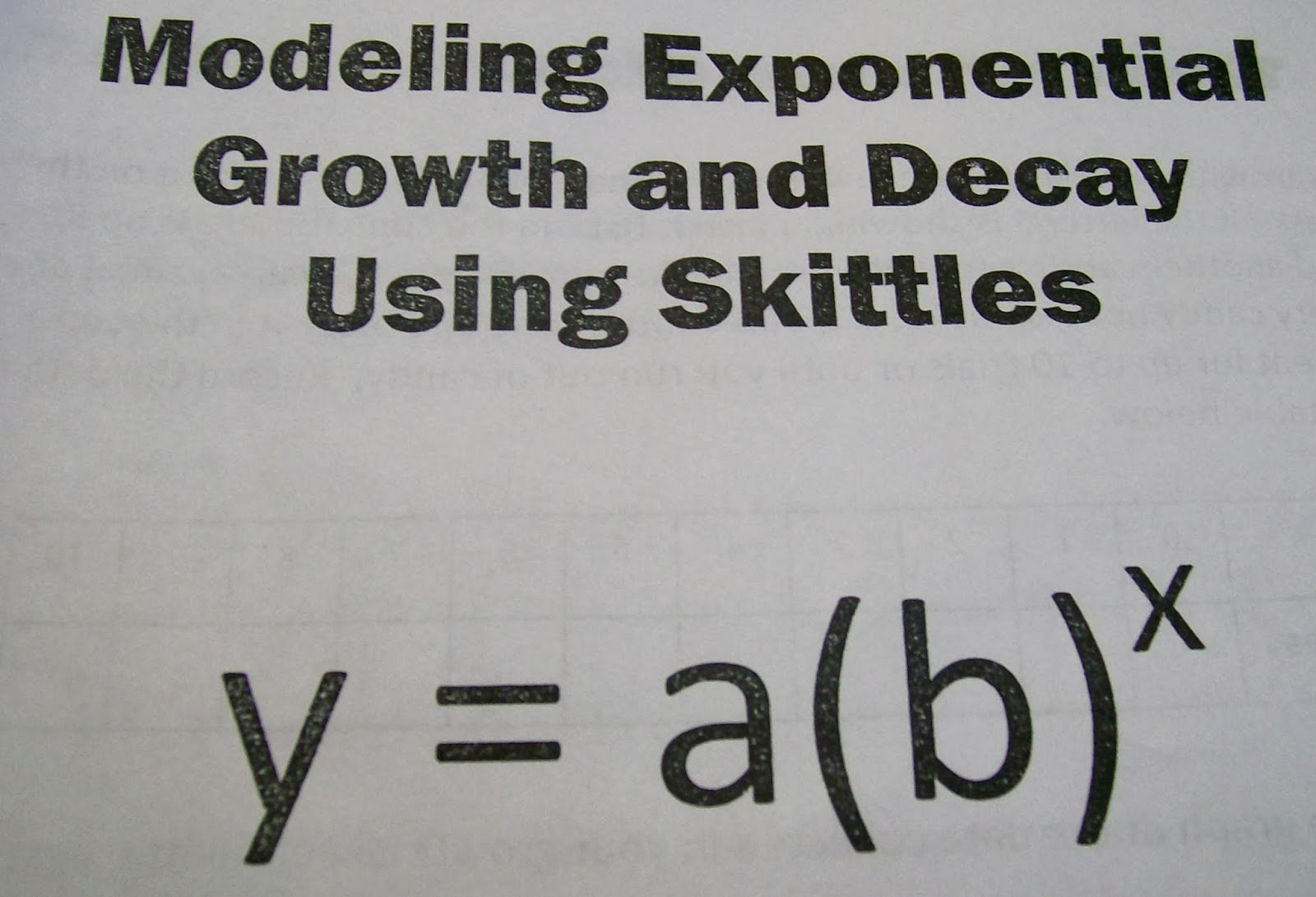 Math Love Modeling Exponential Growth and Decay with Skittles – Exponential Growth Decay Worksheet