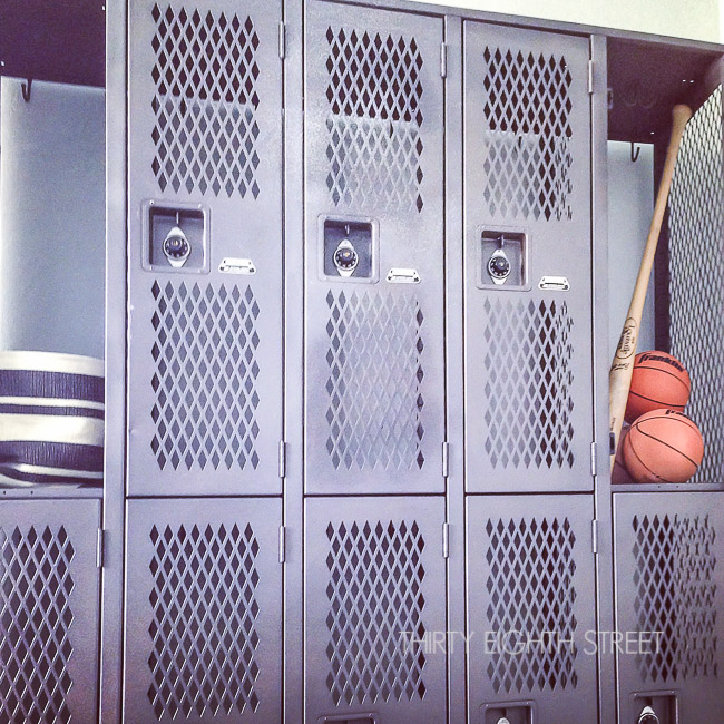 boy's bedroom ideas, industrial bedroom, industrial home, industrial spaces, storage solutions for small spaces, storing toys in lockers, refinishing lockers