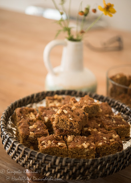wholewheat date walnut tray bake