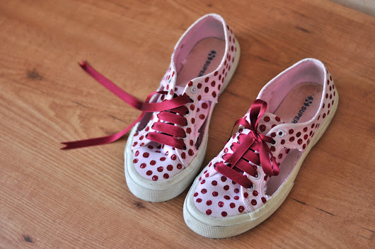 DIY: Cut up and dotted sneakers