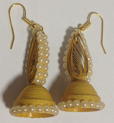 Gold color handmade Trendy Quilling Earring Jhumka Designs 2015 - quillingpaperdesigns