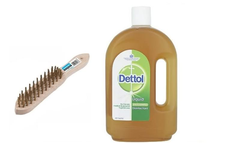 wire brush and dettol image