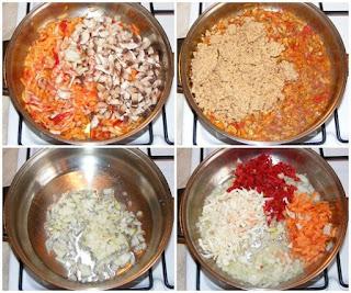 legume calite la tigaie, cum facem umplutura de sarmale, retete cu stevie hrean orez soia ceapa ardei morcovi ciuperci marar telina si bulion, retete, retete culinare, cum facem sarmale de post in foi de stevie si hrean,