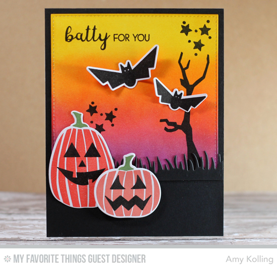 Handmade card from Amy Kolling featuring Lisa Johnson Designs Spooky Sweets stamp set and Die-namics, Fresh Cut Grass and Blueprints 13 Die-namics #mftstamps