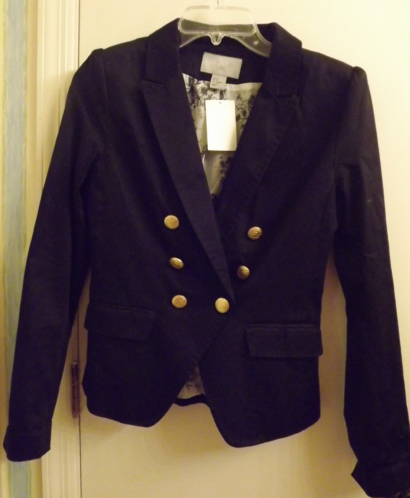 5e01e22cc547c3 And for my fave purchase: navy blazer with gold buttons!!! Will be good  with jeans and over dresses! Just read in InStyle this week that navy  blazers are ...