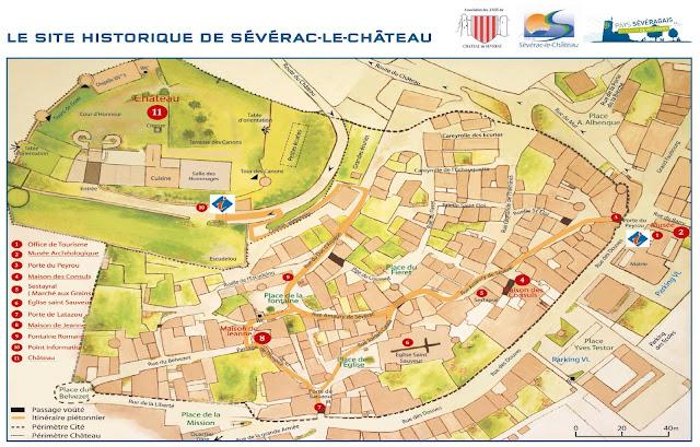 Plano de  Sévérac-le-Château, Francia