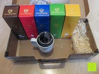 Lieferumfang: Coffeepolitan Premium Geschenkset - Kaffee aus 5 Kontinenten mit Zubereitungsset - grob gemahlen 5 x 9 Portionen (5 x 9 x 7g); ideal auch als Geburtstagsgeschenk oder Probierset