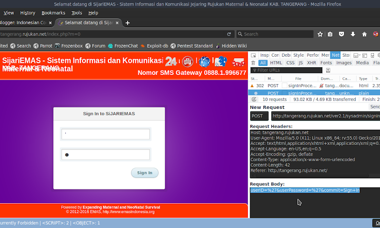 SijariEMAS v2.1 Login Xpath Injection Vulnerability