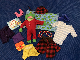 Froggy Gets Dressed story box with frog doll and clothes