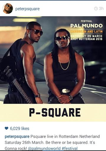 P-Square Reconciles As Peter Post Their Next Performance
