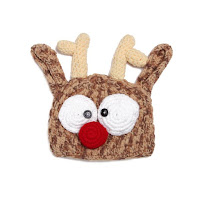 Stylish Cute Deer Head Shape Crocheting Knitted Beanie For Kids - Coffee