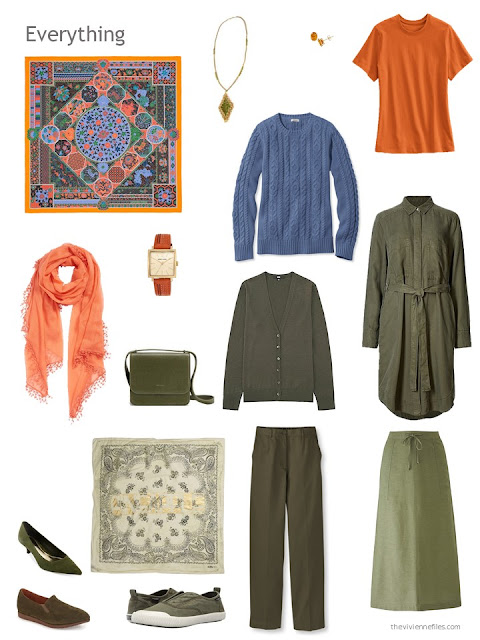 six-piece olive, orange and denim blue capsule wardrobe