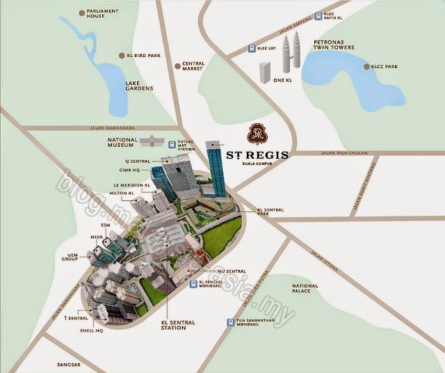 St Regis Kuala Lumpur Map