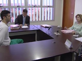 Vigilante apontado como serial killer passou por audiência.  Foto: Reprodução/TV Anhanguera