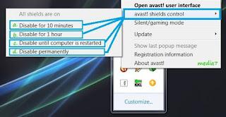 Cara menonaktifkan antivirus Avast!
