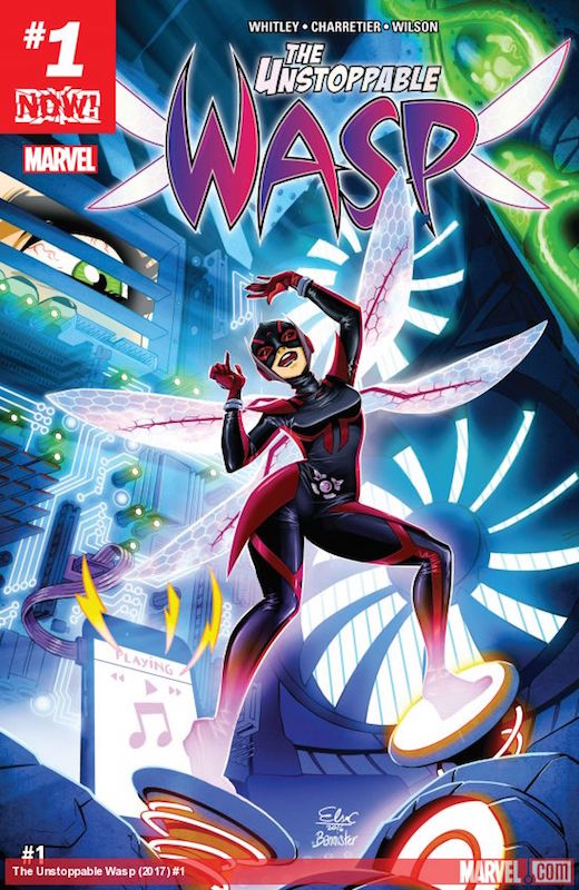The Unstoppable Wasp #1, Story: Jeremy Whitley Art: Elsa Charretier Covers: Nicolas Bannister, Elizabeth Torque, Nelson Blake II, Guru eFX, Skottie Young, John Tyler Christopher, Andy Park Colors: Megan Wilson Letters: Joe Caramagna  Nadia Pym created by Mark Waid and Alan Davis.