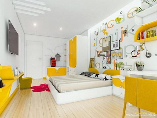 Với tông màu vàng chanh là chủ đạo, kết hợp với những đồ decor màu sắc bắt mắt khác.