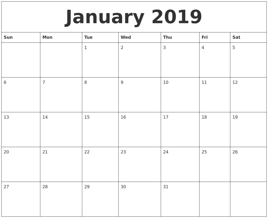 January 2019 Landscape Portrait Calendar Template Free Download