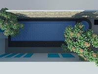 Desain kolam renang minimalis model spa Tampak atas