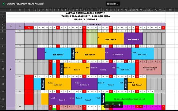 Download Jadwal Pelajaran SD Kelas Tinggi Kurikulum 2013 Revisi 2017
