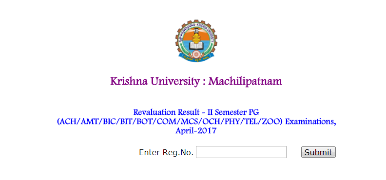 Krishna University KRU PG Revaluation Results 2017