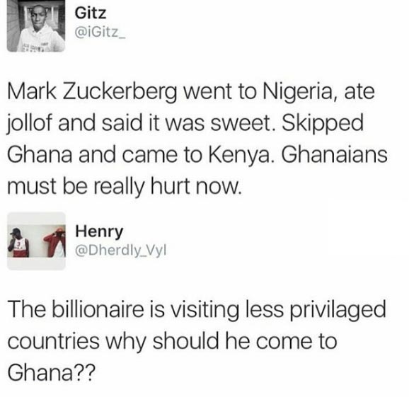 Ghana guy with epic comeback on Mark Zuckerberg tweet by Nigerian