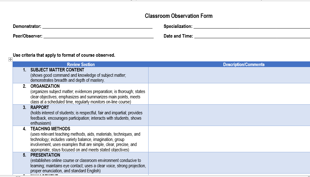 Class Observation Guide and Forms of the K-12 Program | DEPED ...
