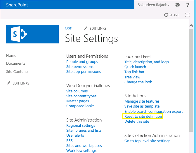 Reset to Site Definition using PowerShell in SharePoint