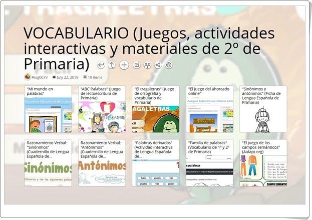 """""""10 Juegos, actividades interactivas y materiales de VOCABULARIO de 2º de Primaria"""""""