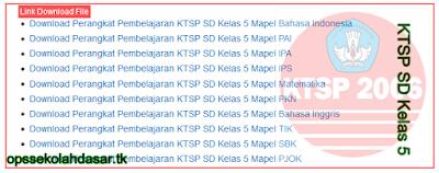 Download Perangkat Pembelajaran Rpp, Silabuar, Prota dan Promes KTSP SD Kelas 5