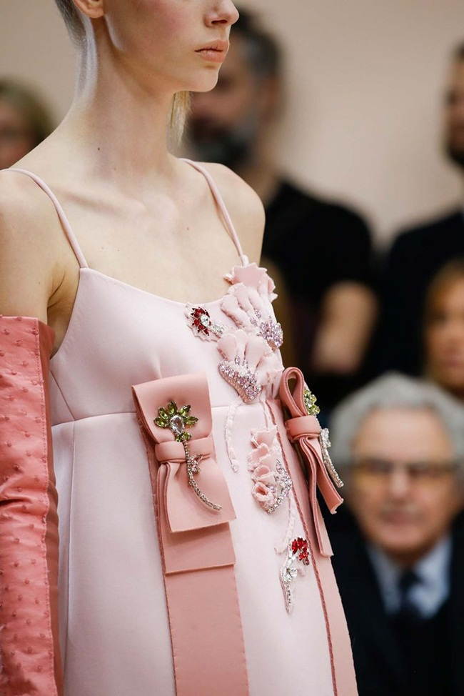 Prada 2015 AW Little Pink Embellished Jersey Gazarre Empire-Waist Dress on Runway