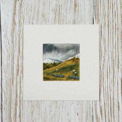 Scottish landscape watercolour painting with sheep