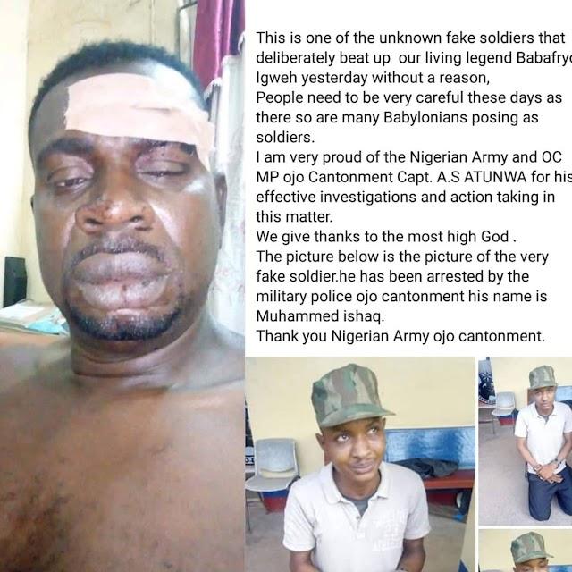 FAKE SOLDIER WHO BEAT VETERAN SINGER, BABA FRYO HAS BEEN ARRESTED.