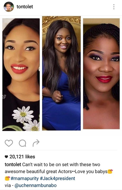 Tonto Dikeh, Mercy Johnson & Jackie Appiah Storm Movie Set1