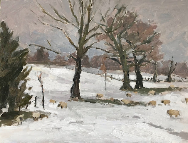 #278 'Sheep Grazing, Bramshott Chase' 12×16″