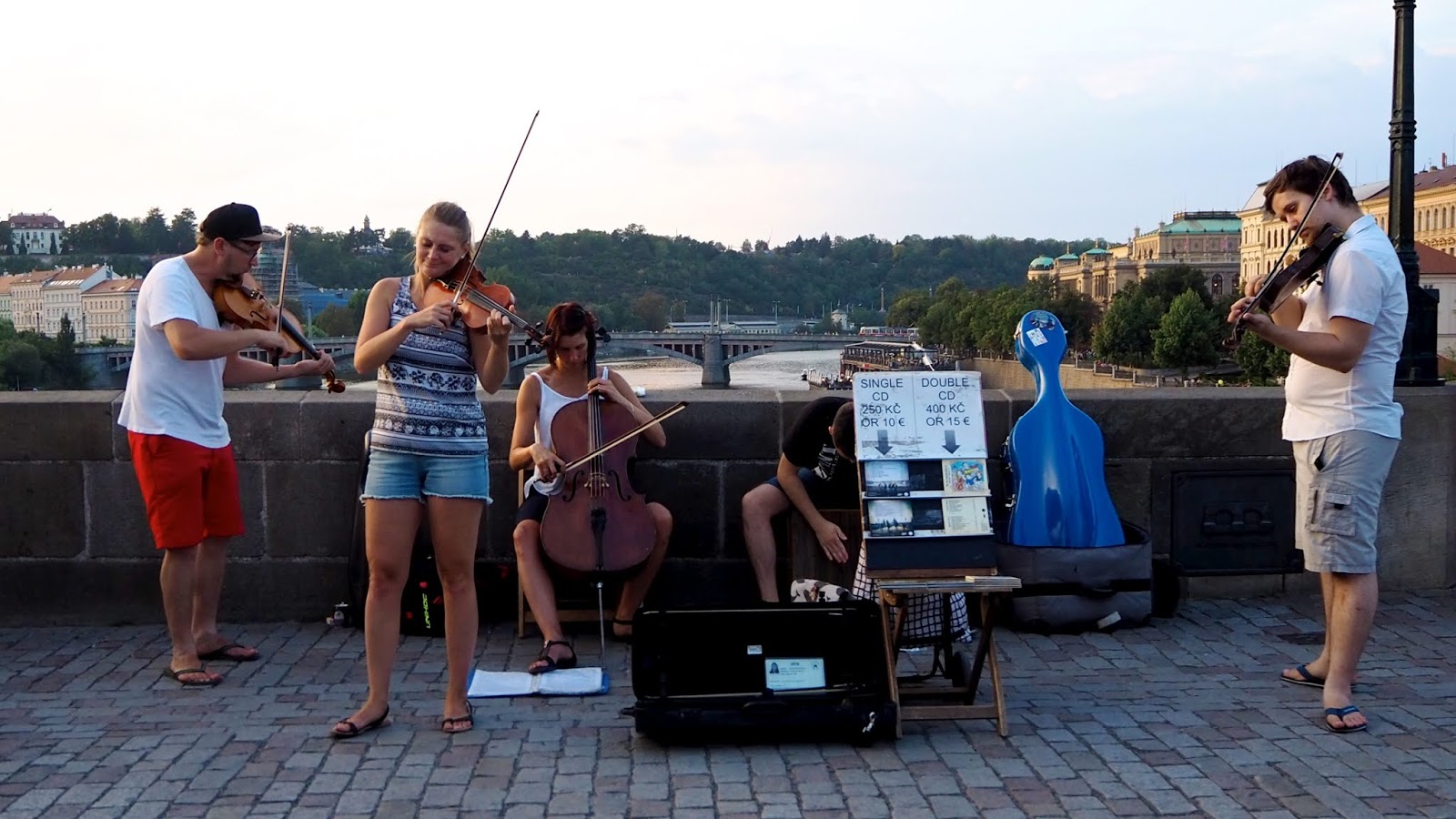 String Quartet playing on Charles Bridge, Prague