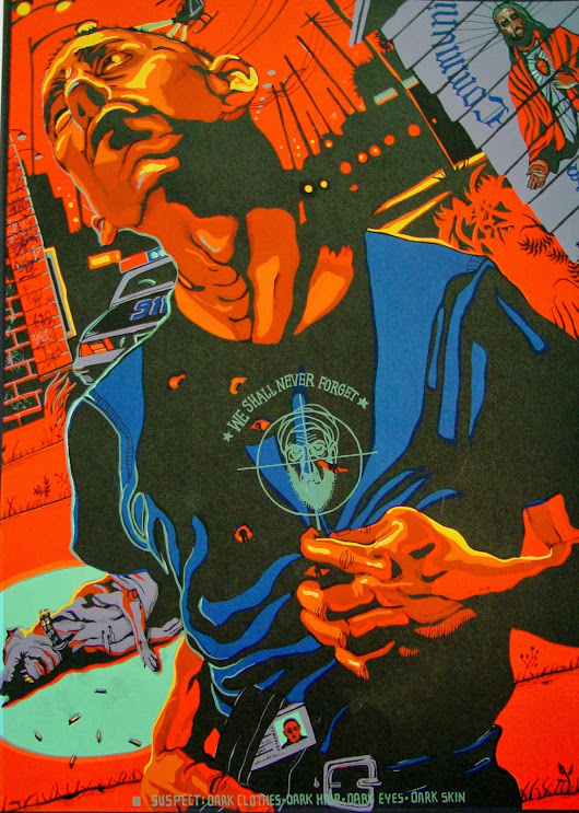 """SUSPECT IS: DARK HAIR, DARK EYES, DARK CLOTHES, DARK SKIN"" serigraph/2003"