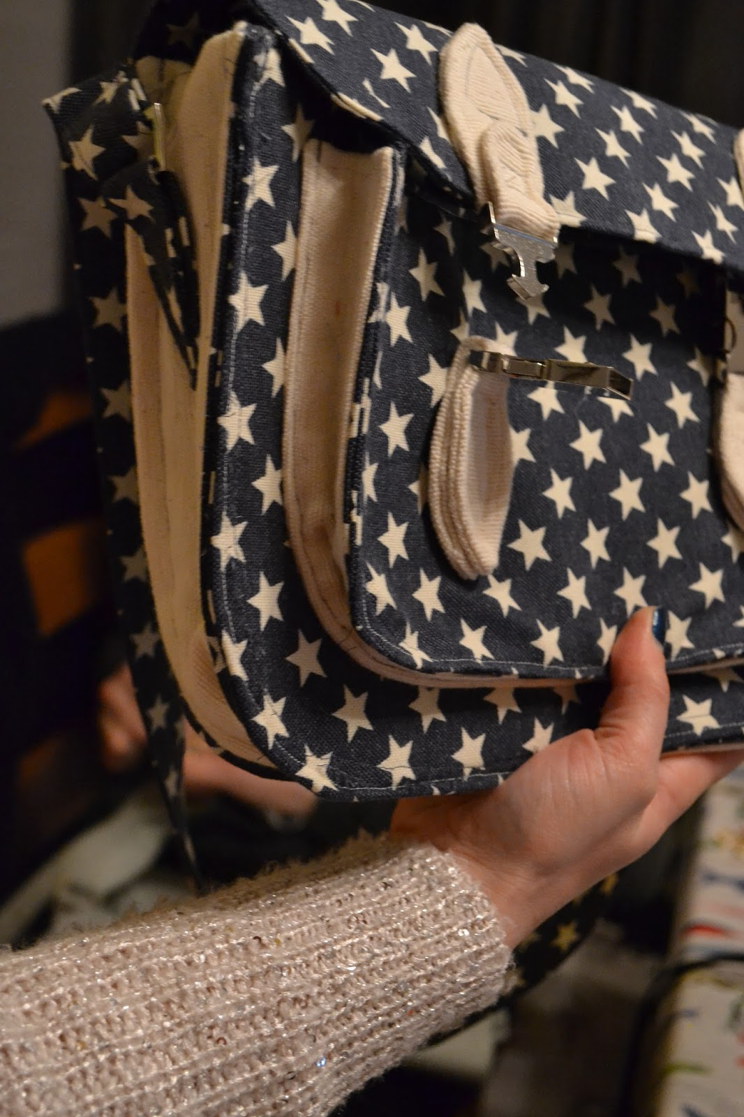 kitchen table sewing satchels