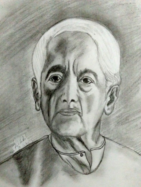 Jiddu Krishnamurti pencil drawing