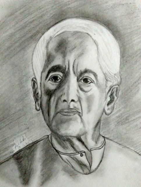 Jiddu Krishnamurti pencil drawing